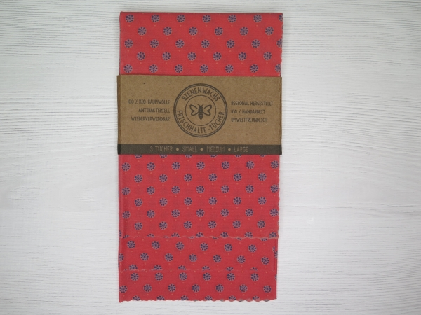 Bienenwachstücher Set Hortensien rot